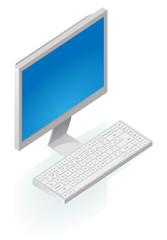 Isometric icon of desktop computer