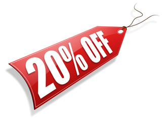 Red 20% off tag