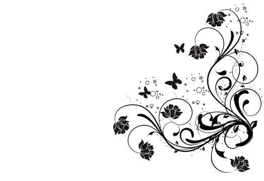 coin floral noirs et papillonsa