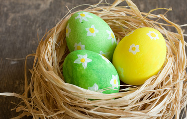 Easter eggs  in the straw
