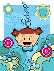 Submarine girl vector