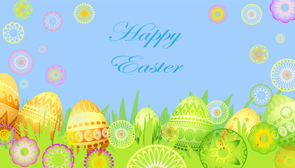 easter card with flowers and eggs