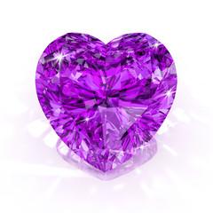 diamond purple heart shape