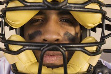 baseball catcher wearing mask (close-up) (portrait)