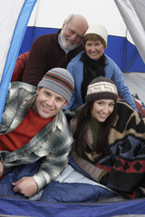 couples relaxing in tent (portrait)