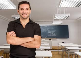 Smiling casual teacher