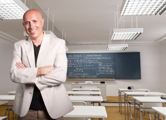 Smiling mature male teacher