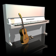 Piano and guitar isolated on a black background