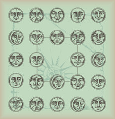 vintage background-circle faces