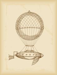flying machine sketch- sepia
