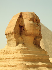 Tuinposter Egypte Sphinx and Giza Pyramids in Egypt