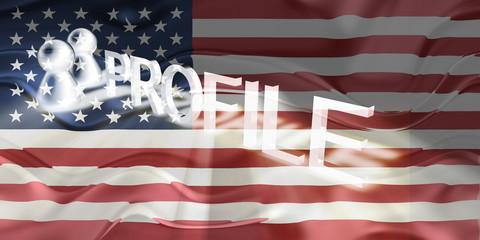 Flag of United States of America wavy profile