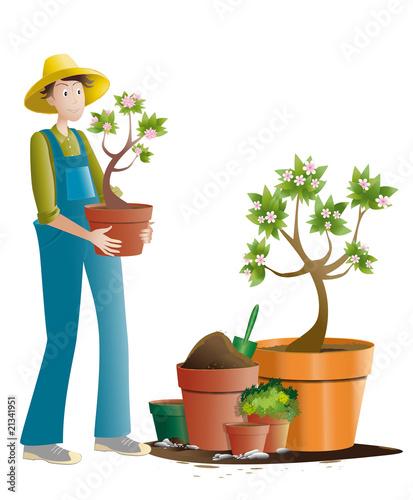 Jardinier et pots de fleurs photo libre de droits sur la for Jardinier tarif