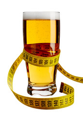 Wall Mural - Beer glass and measuring tape