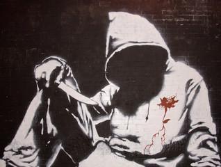 Banksy graffiti at the Cans festival, London