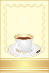 Cup with coffee and corns on the decorative background. Vector