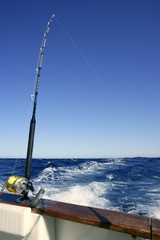 Angler boat big game fishing in saltwater