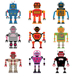 Nine different vector retro Robots