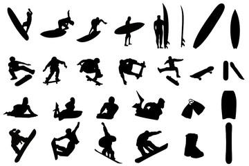 sport de glisse, surf, skate, snowboard et bodyboard