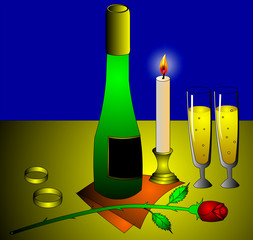 The Wine, flowerses, wedding ring