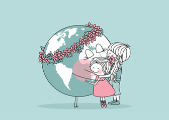 kids hugging the earth