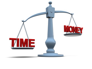 time and money on scale
