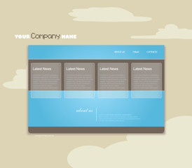 Website template with clouds. Vector art