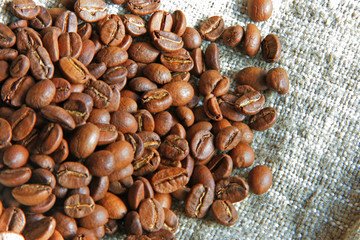coffee beans over sacking canvas