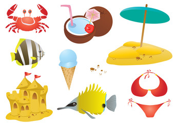 crab, fishes, ice cream, scastle, cocktail, sand with umbrella