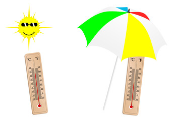 Detailed weather illustration with thermometer