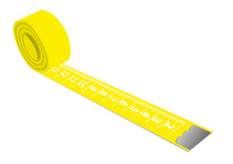 Illustration of a yellow measuring tape isolated