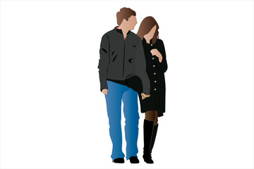 Vector illustration of couple under the white background
