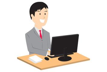 パソコンとビジネスマン
