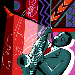 Wall Mural - saxophonist on a colorful background