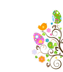 birds and easter eggs in nest