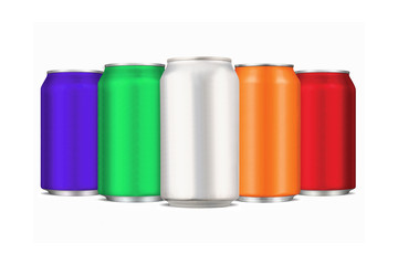Five colourful aluminium cans