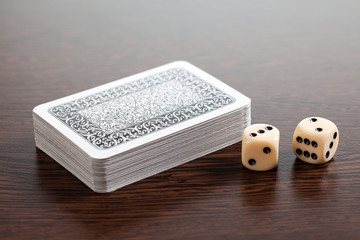 poker cards and dices