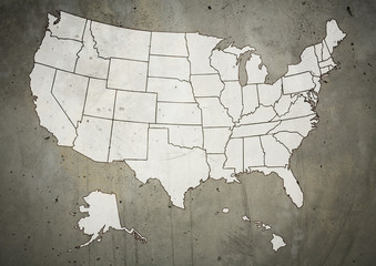 Map of US with marked states