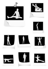 Illustration of some instant photos with girls doing gym