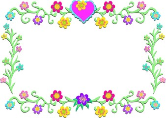 Frame of Flowers, Heart, and Vines
