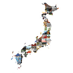 Carte du Japon et mosaïque photos