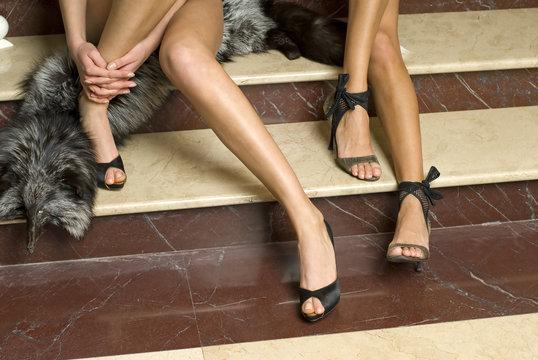elegant models legs with fashion shoes