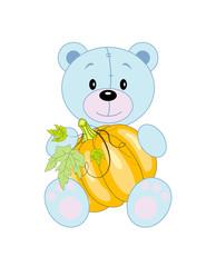 Vector fun bear with pumpkin