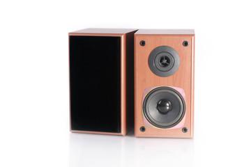 audio speakers on white background.