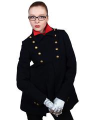 young beautiful woman in a black short coat