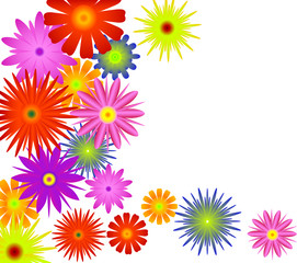 bright color flower corner illustration