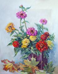 original art work by oil. Flowers