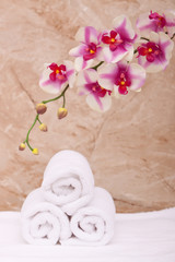 Spa towels with orchid
