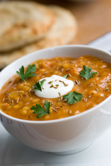 Carrot and lentil soup in a bowl