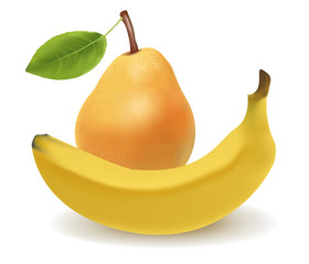 Vector illustration of the banana and the pear.